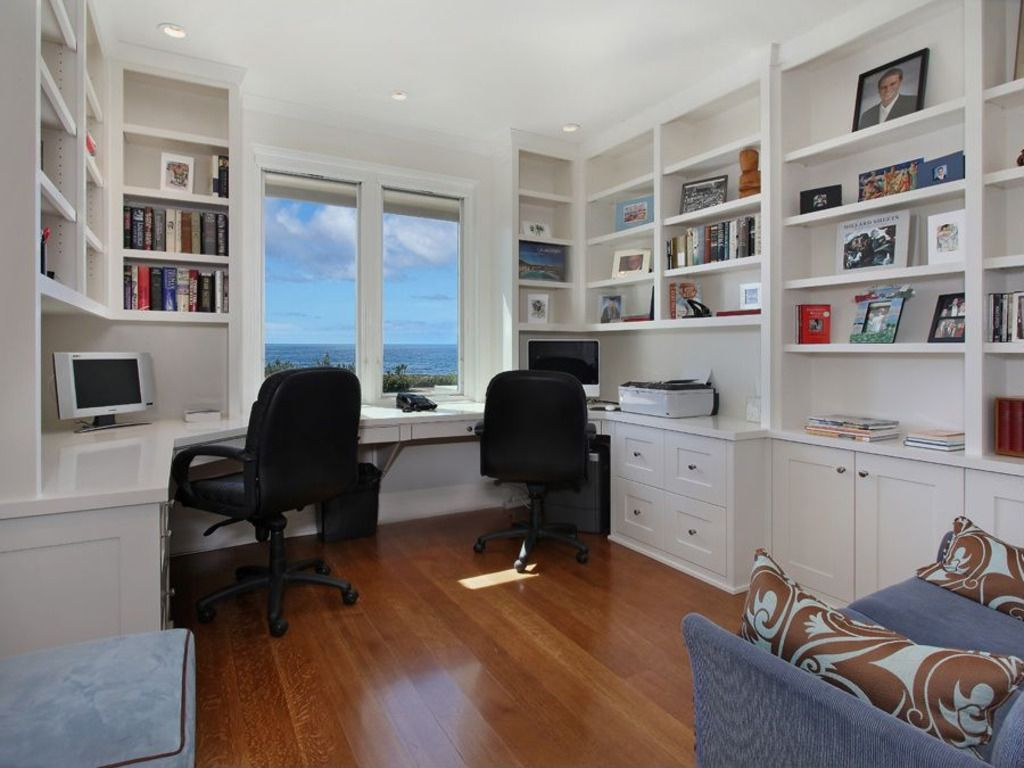 Modern Home Office with Built-in bookshelf, Crown molding, Comfort Products  Mid-Back Black Leather Office Chair