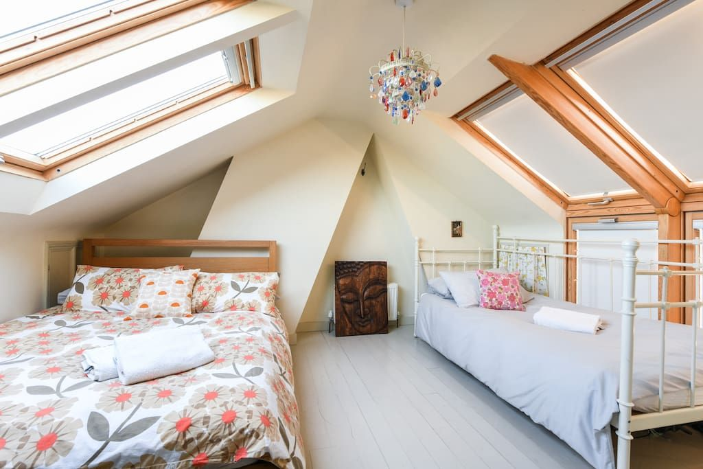 Attic Bedroom With One Double Bed And One Single Townhouse For