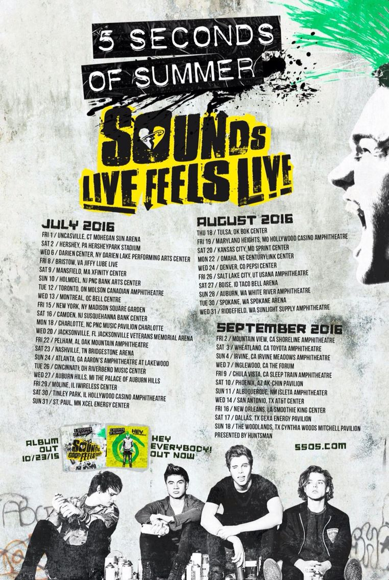 Sounds Live Feels Live North American Shows 5 Seconds Of Summer