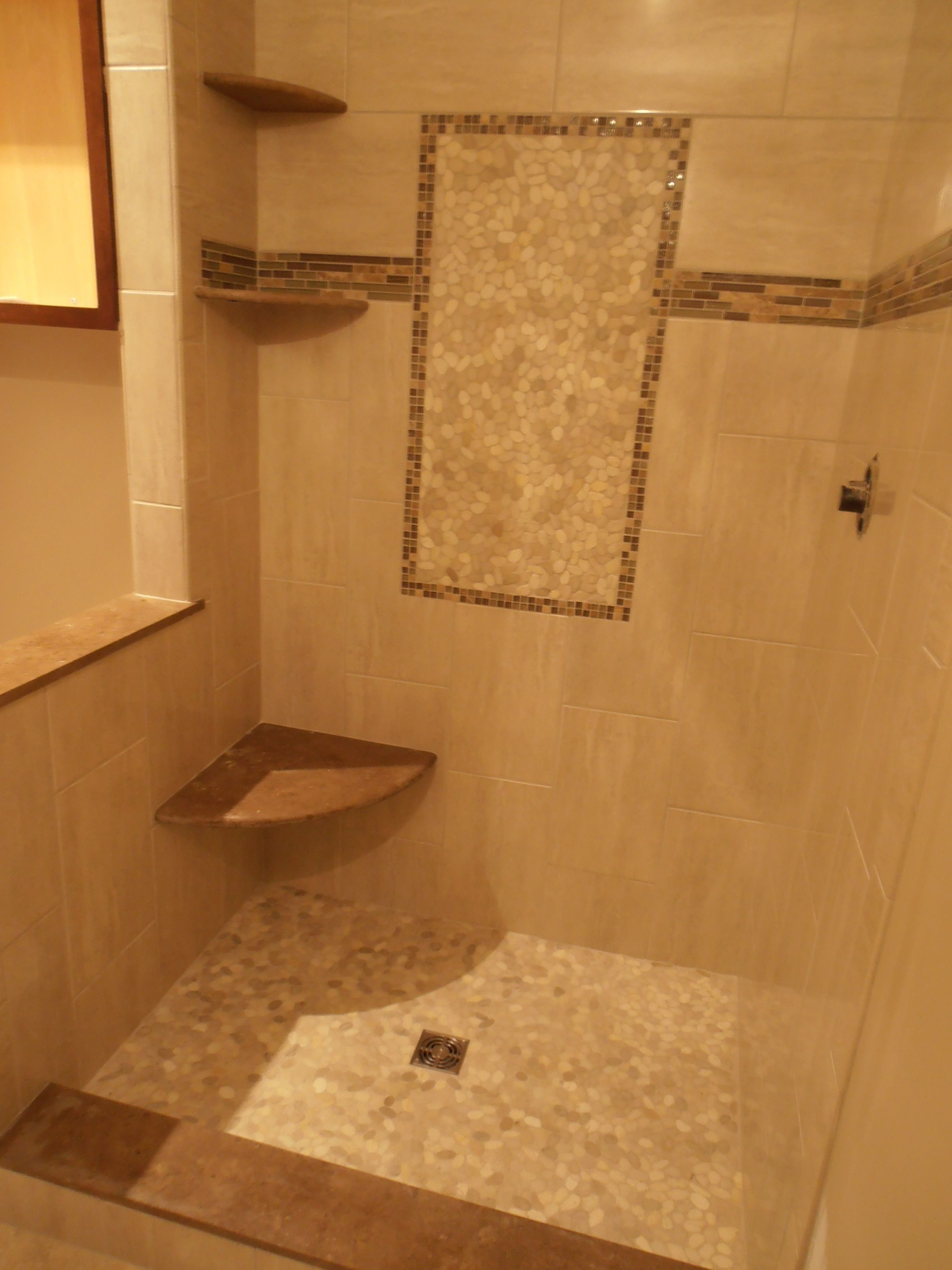Shower Stalls With Tile Feature Wall | Decorations Tiles. Noble Pebble Shower  Floor Assorted Installation