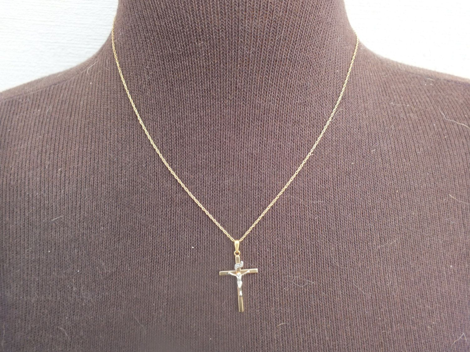 Vintage Signed PPC 14K Gold Filled Engraved Jesus on Cross Pendant and Chain, Beautiful Religious Necklace Jewelry, Free Shipping in USA by GiftShopVintage on Etsy