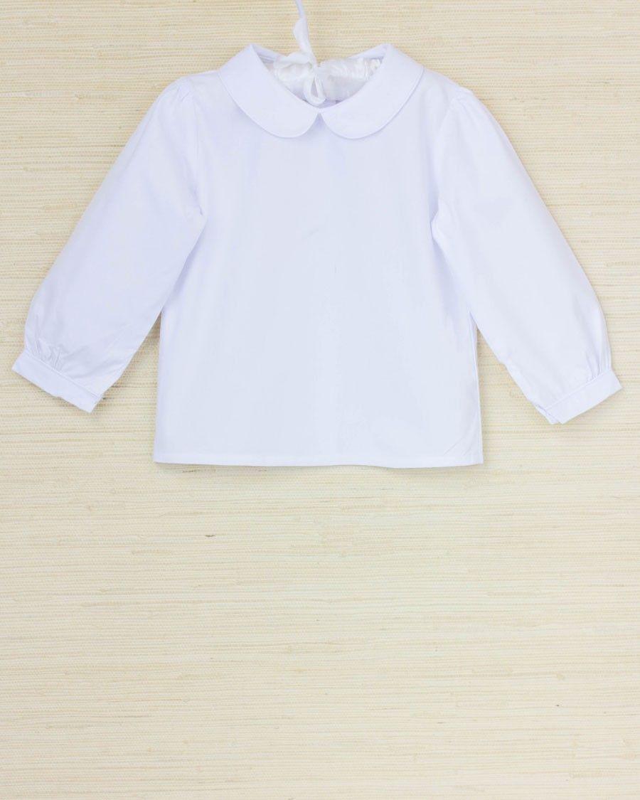 5d08ec2a Girls peter pan collar long sleeve shirt | Baby Elizabeth | Shirt ...