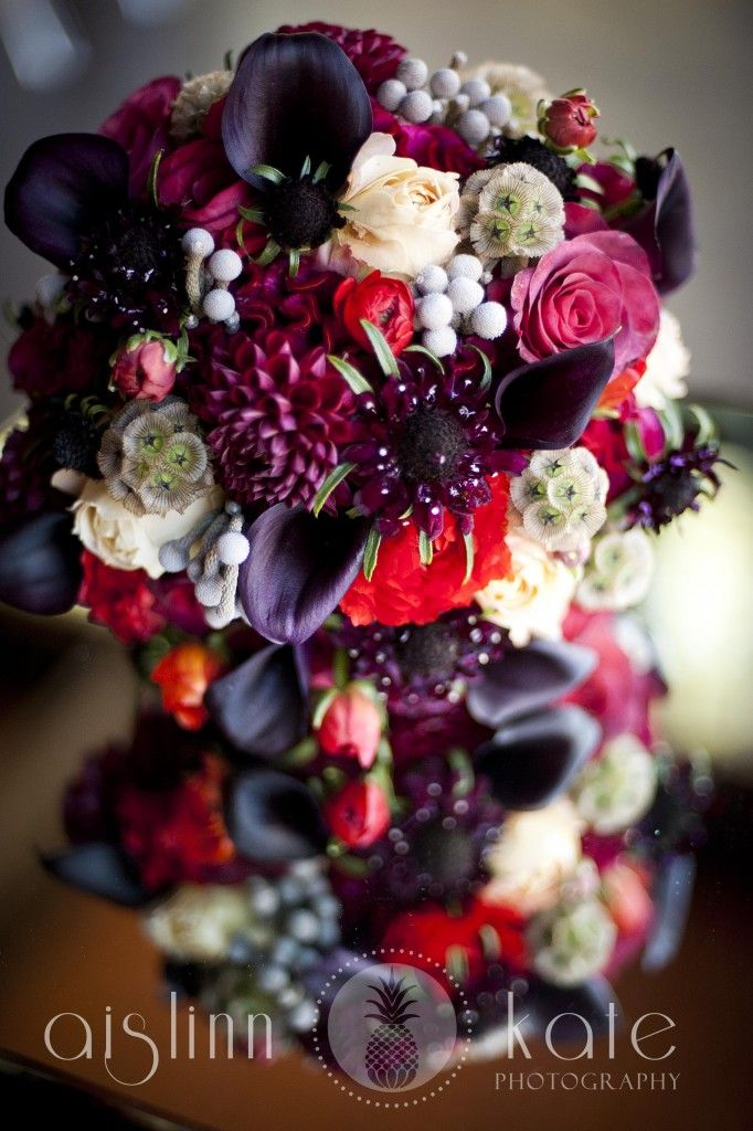 Deep Red Bouquets Purple Cool Holiday Weddings