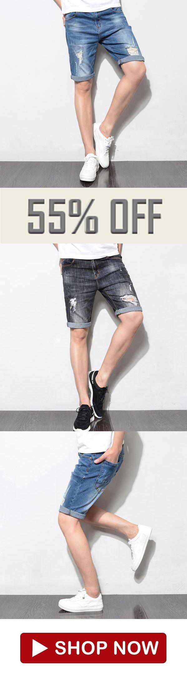 ec63e99859ca Mens Summer Ripped Holes Slim Fit Knee Length Short Jeans   Pants in ...