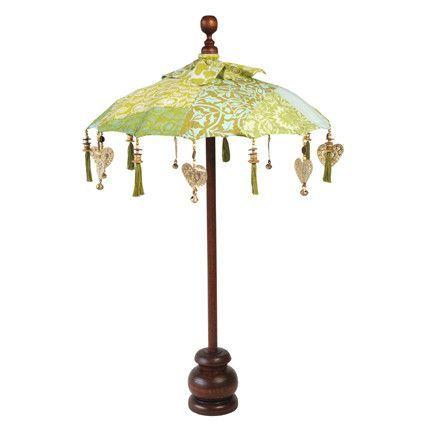 Decorative Table Top Balinese Umbrella   Blue/Green Patchwork