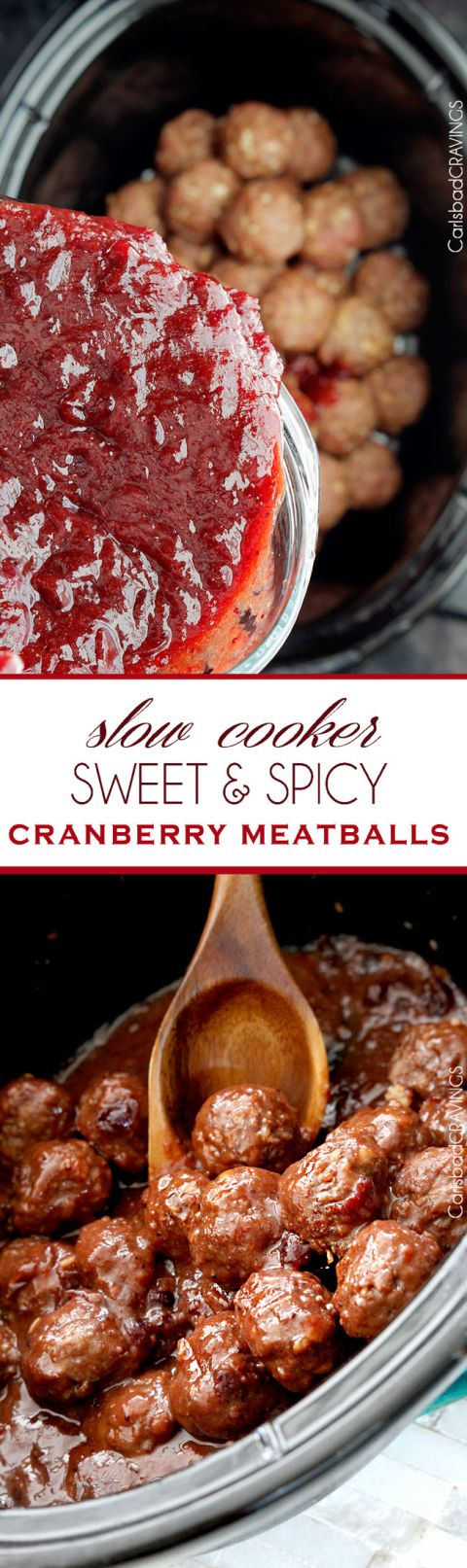 Sweet and spicy cranberry meatballs slow cooker recipe for Meatball appetizer recipe crockpot