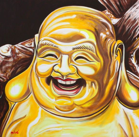 "happy buddha-laughing buddha of love.....36x36"" oil on canvas by drago milic"