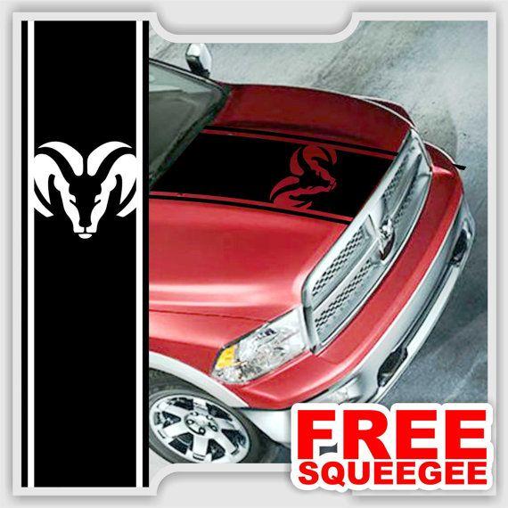Fits Dodge Ram Truck Hood Single Stripe With Ram Head Plainchrome - Custom vinyl decals edmonton