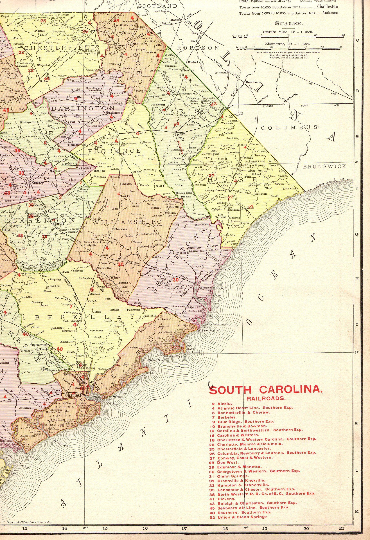 1908 Rare Size Antique South Carolina Map Poster Print W Railroads - Us-map-1908