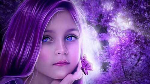 Little Girl With Purple Hair Amp Butterfly On Hand Vibrant