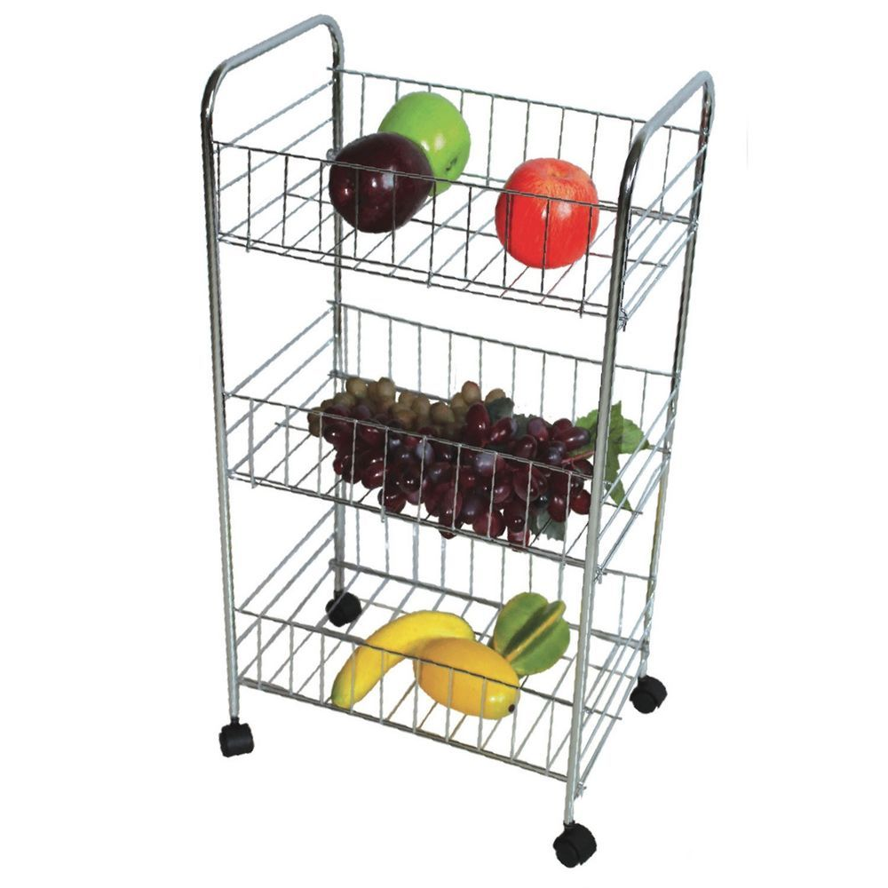 3 Tier Chrome Kitchen Fruit Vegetable Storage Trolley Cart Vegetable Rack Vegetable Storage Storage Trolley