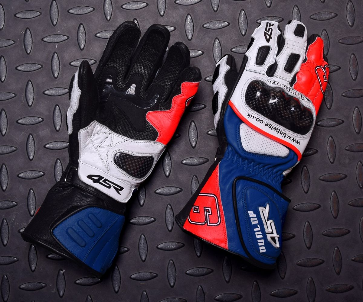 Motorcycle gloves with id pocket - 4sr Sport Cup Dunlop Replica Motorbike Gloves