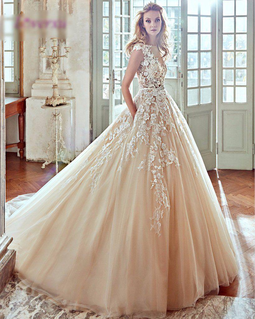 New Designer Cap Sleeve Champagne Appliques A Line Princess Wedding Dress