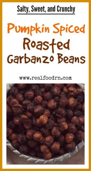 Salty, Sweet, and Crunchy Pumpkin Spiced Roasted Garbanzo Beans. The perfect snack for fall. Easy to make and very tasty. Definitely a kid favorite! realfoodrn.com