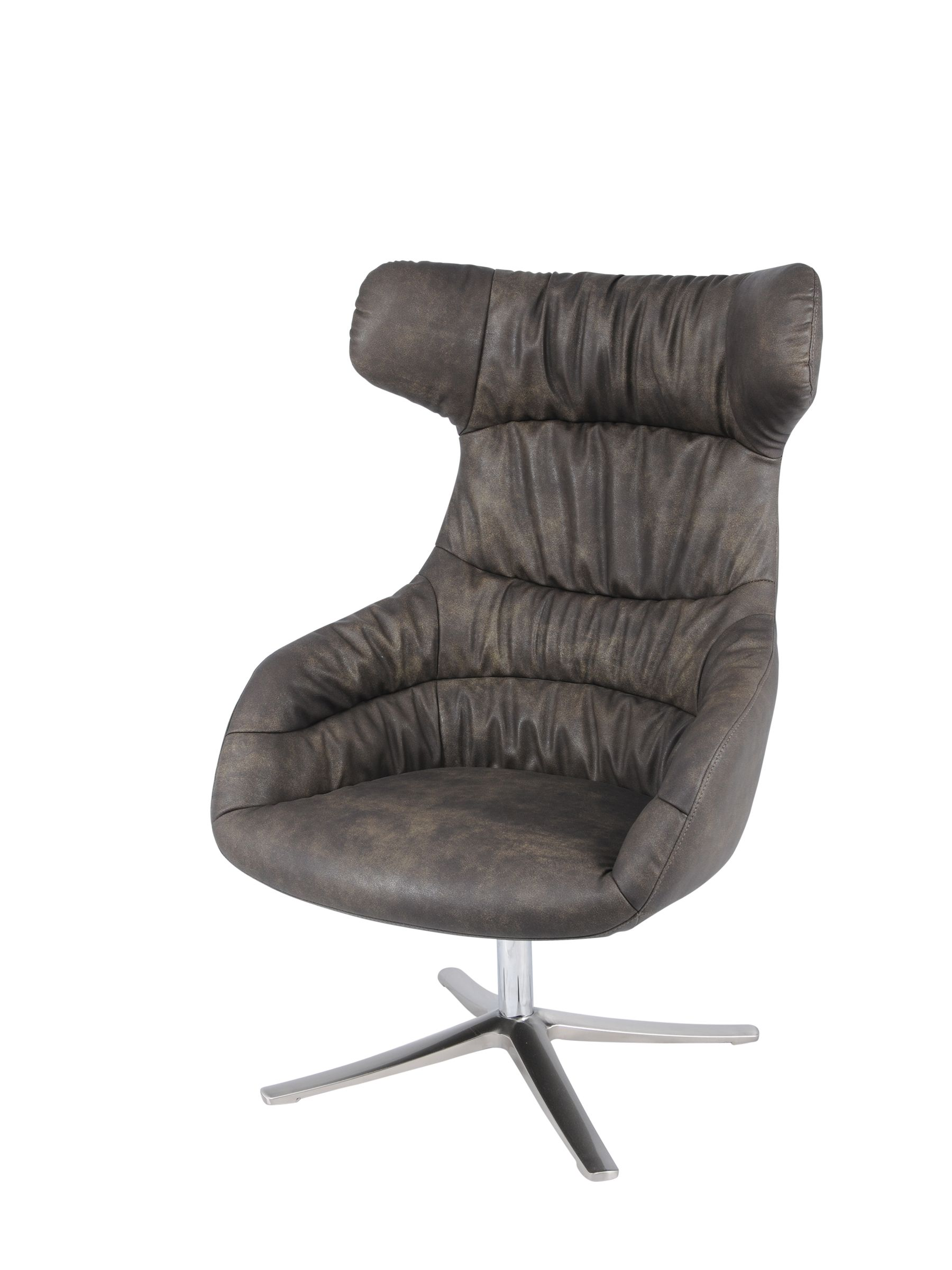 Skye PU Swivel Chair Chrome Legs in Antique Coffee