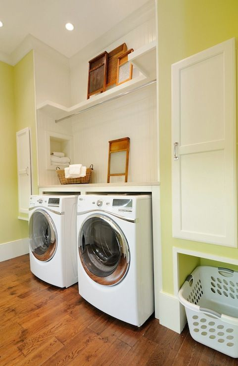 Laundry Basket Niche Really Ingenious Yellow Laundry Rooms