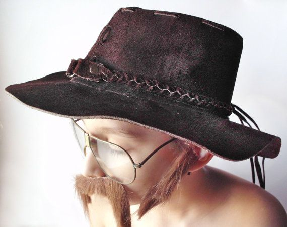 773588a1800 Vintage Suede Leather Floppy Hippie Hat Size by PoorLittleRobin
