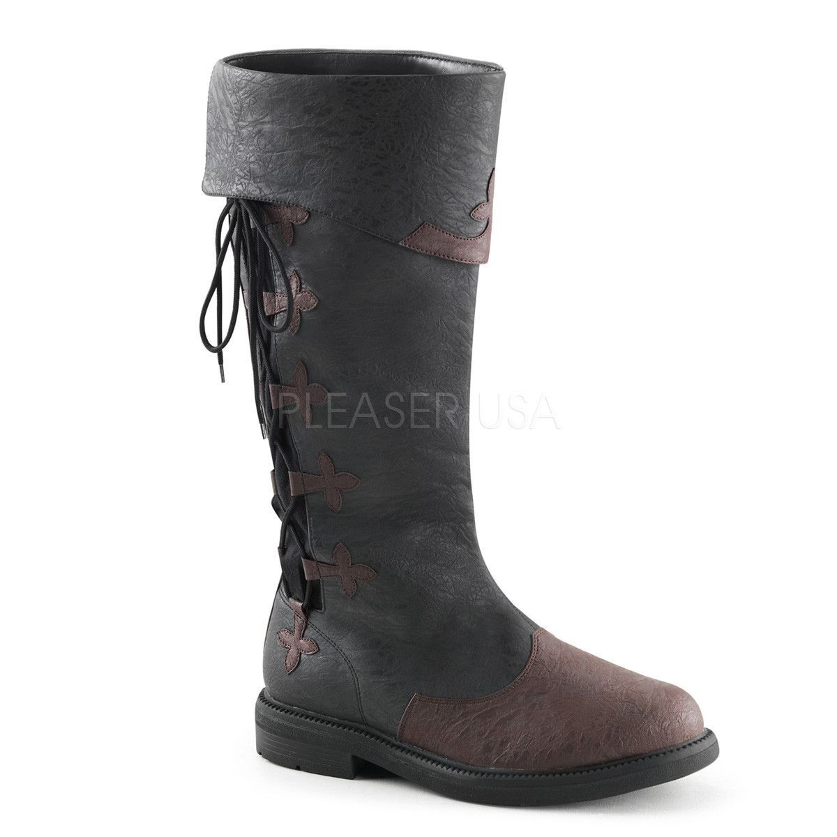 CAPTAIN-110 Men's Black-Brown Distressed Pu Pirate Boots