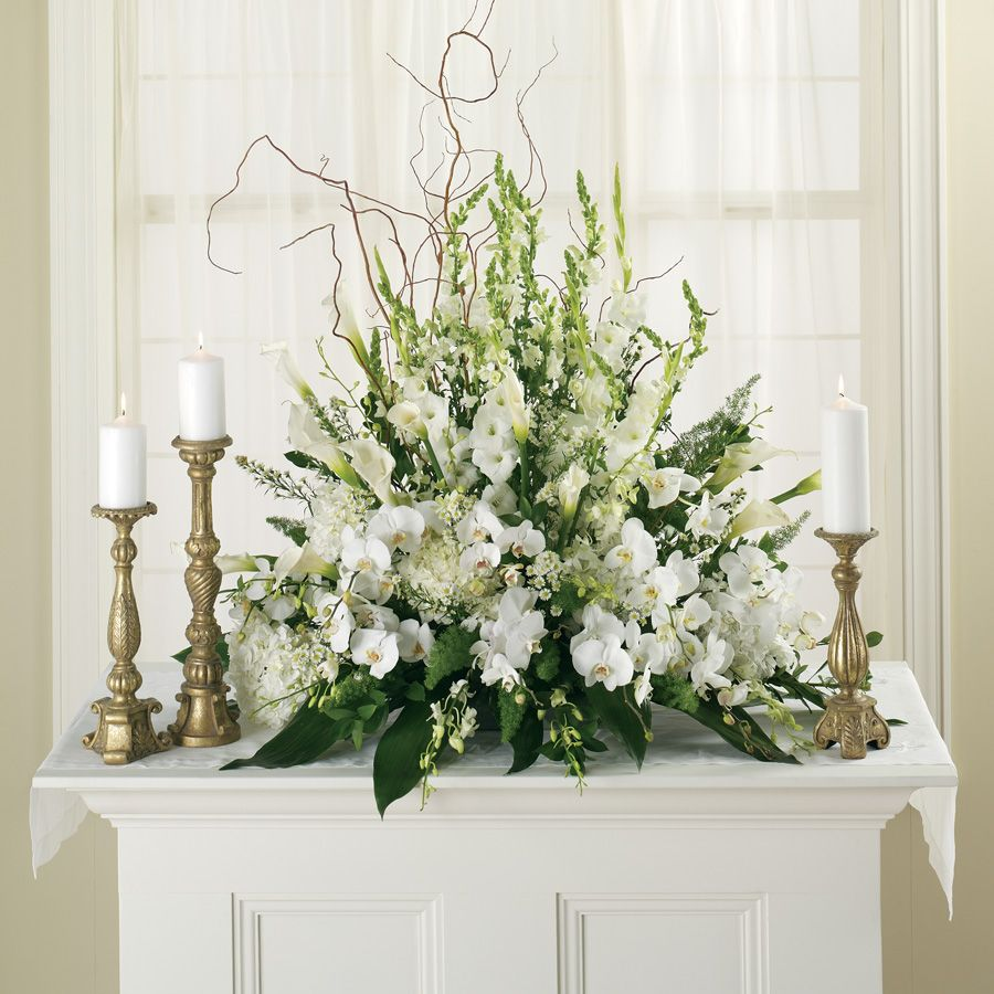 Pictures Of Wedding Altar Flower Arrangements: White Flower Setting For A Beautiful White Wedding