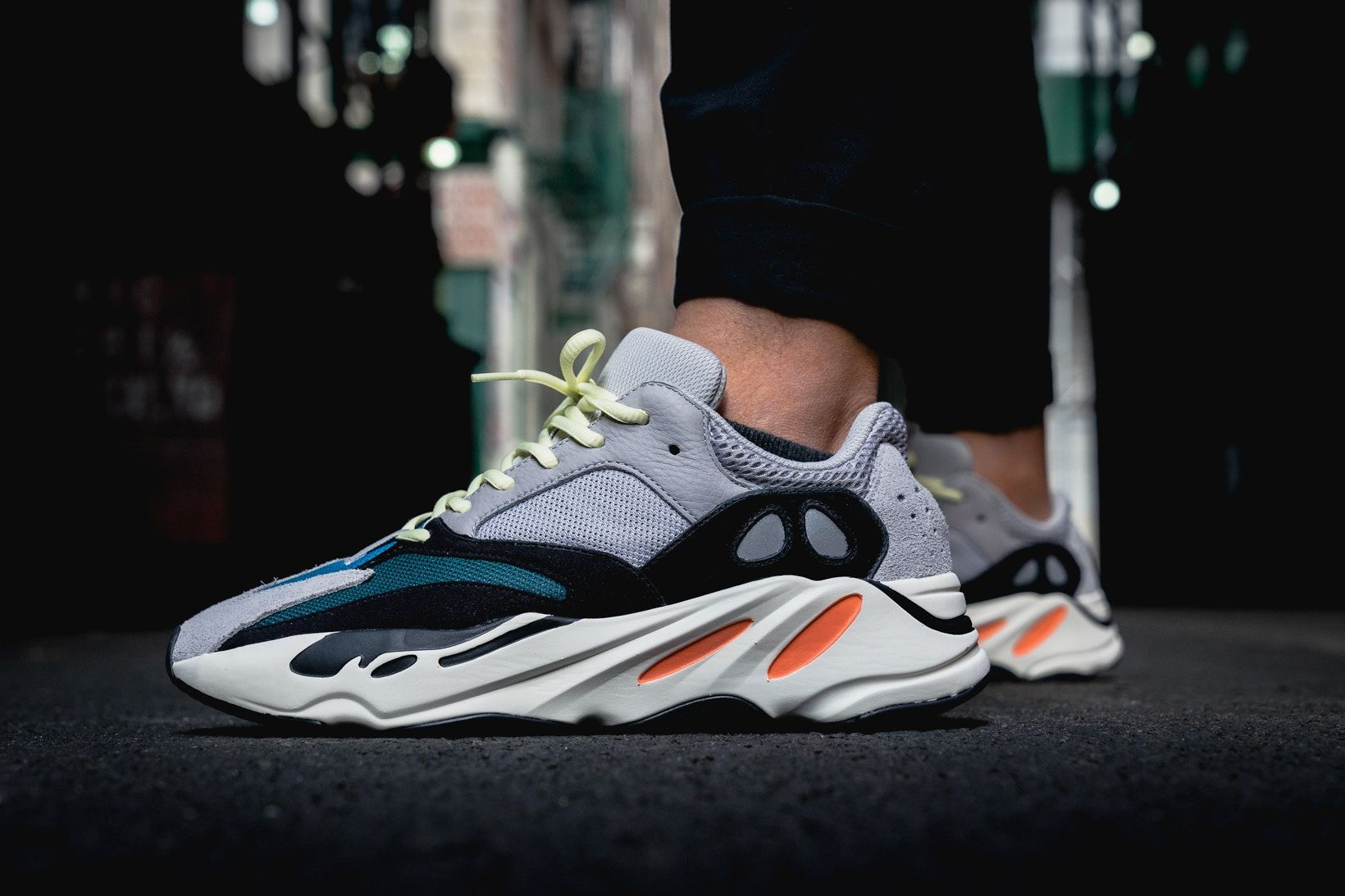 meet af6dd 70ae1 adidas YEEZY BOOST 700 On Feet Closer Look Wave Runner Kanye West Kim  Kardashian footwear