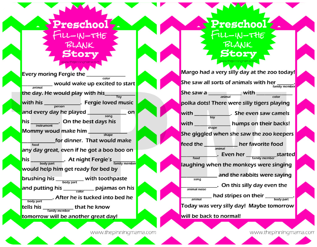 I Love This Free Printable Activity For Kids Mad Libs Style Story For Preschoolers By