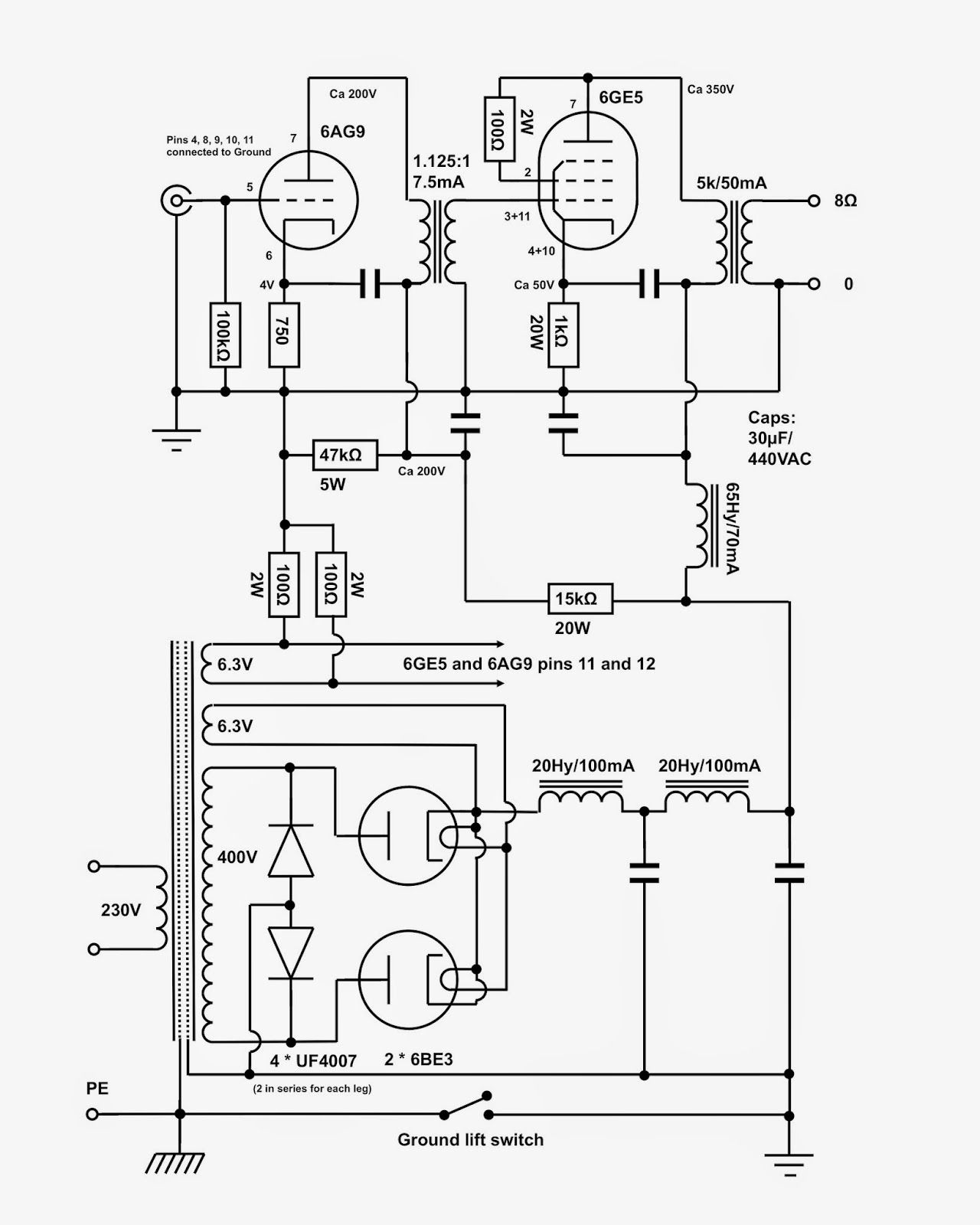 Headphone Speaker Schematic