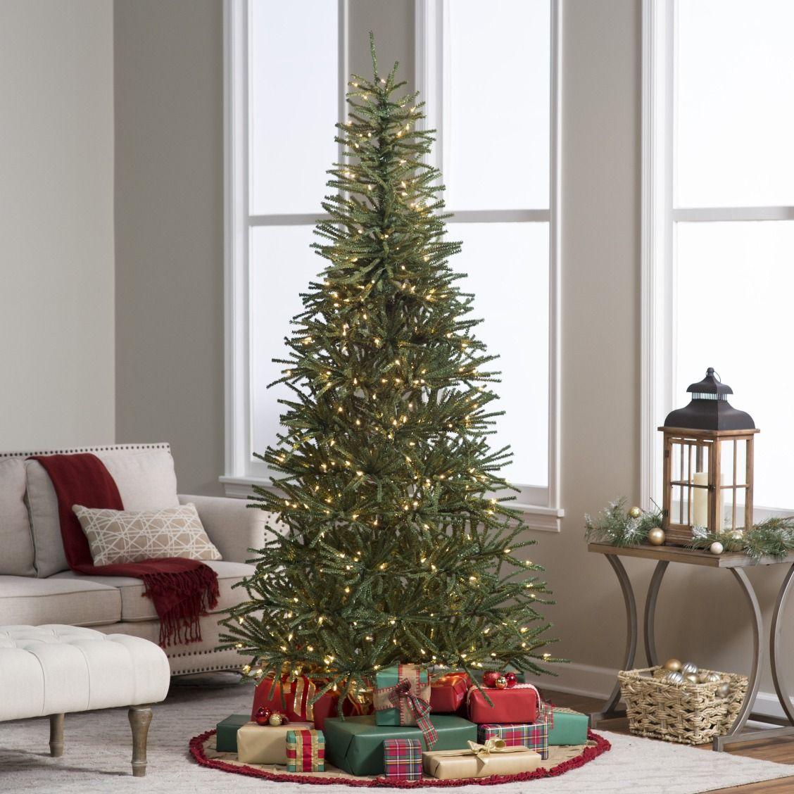 christmas tree 75 ft delicate pine slim pre lit christmas tree - Pre Lit Slim Christmas Tree