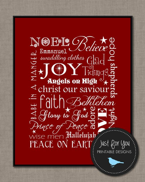Christmas Decor   Typography, Word Art, Subway Wall Art   Printable 8x10    Christmas Carols, Religious, Christian (other Sizes And Colours Available)