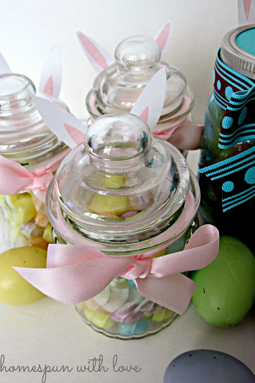 Diy bunny candy jars with free printable ears great easter