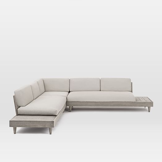 Portside Outdoor Low 3 Piece L Shaped Sectional Sectional Modern Outdoor Furniture 3 Piece Sectional
