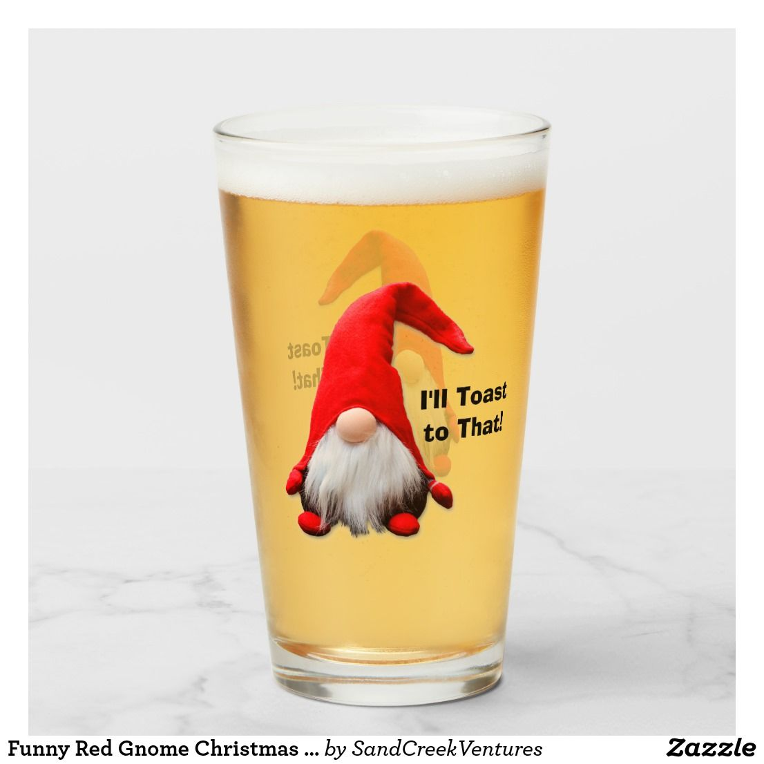 Funny red gnome christmas toast glass