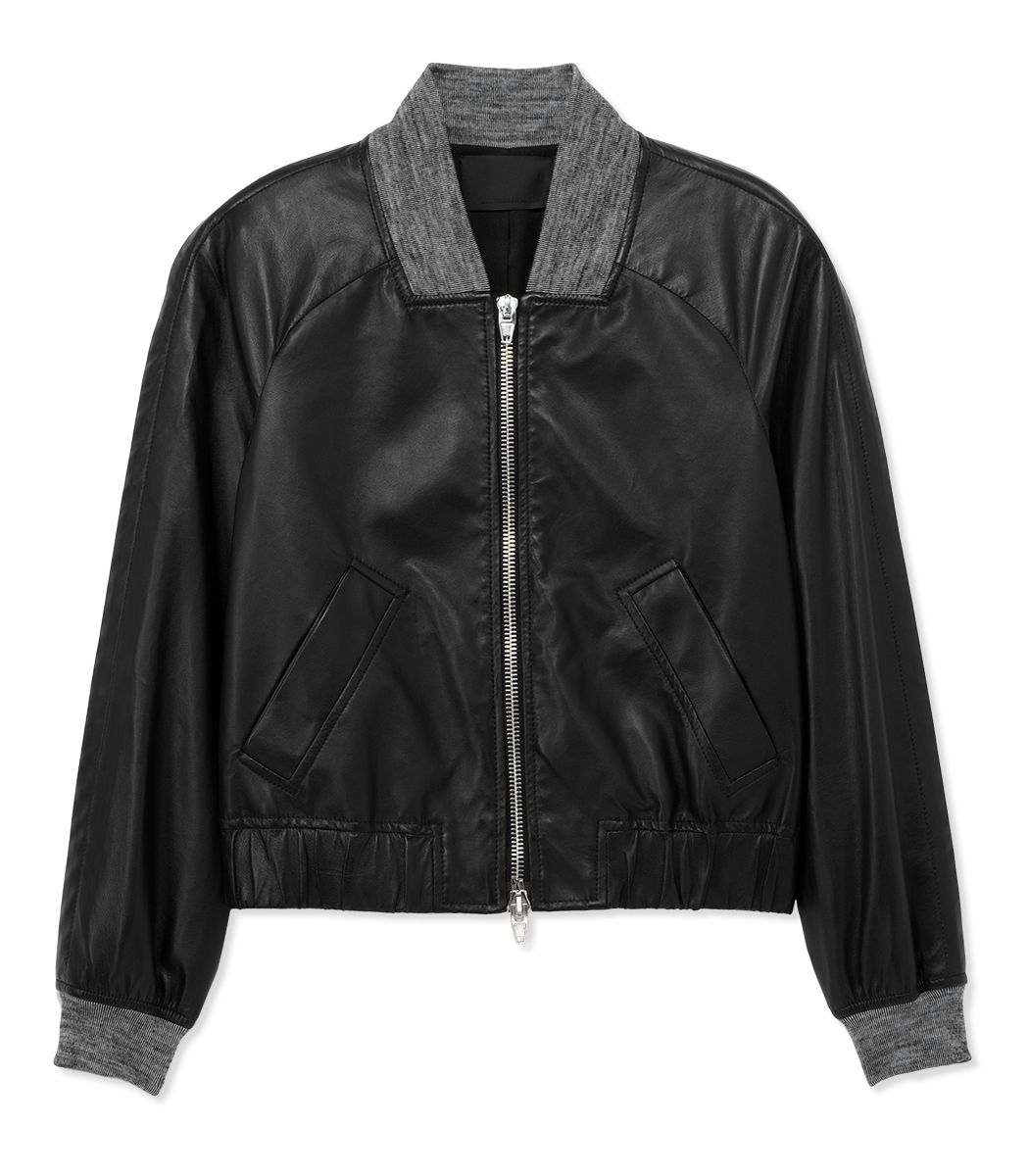 Edgy Moto Chic on #ShopBAZAAR: Alexander Wang Cropped Leather Bomber Jacket