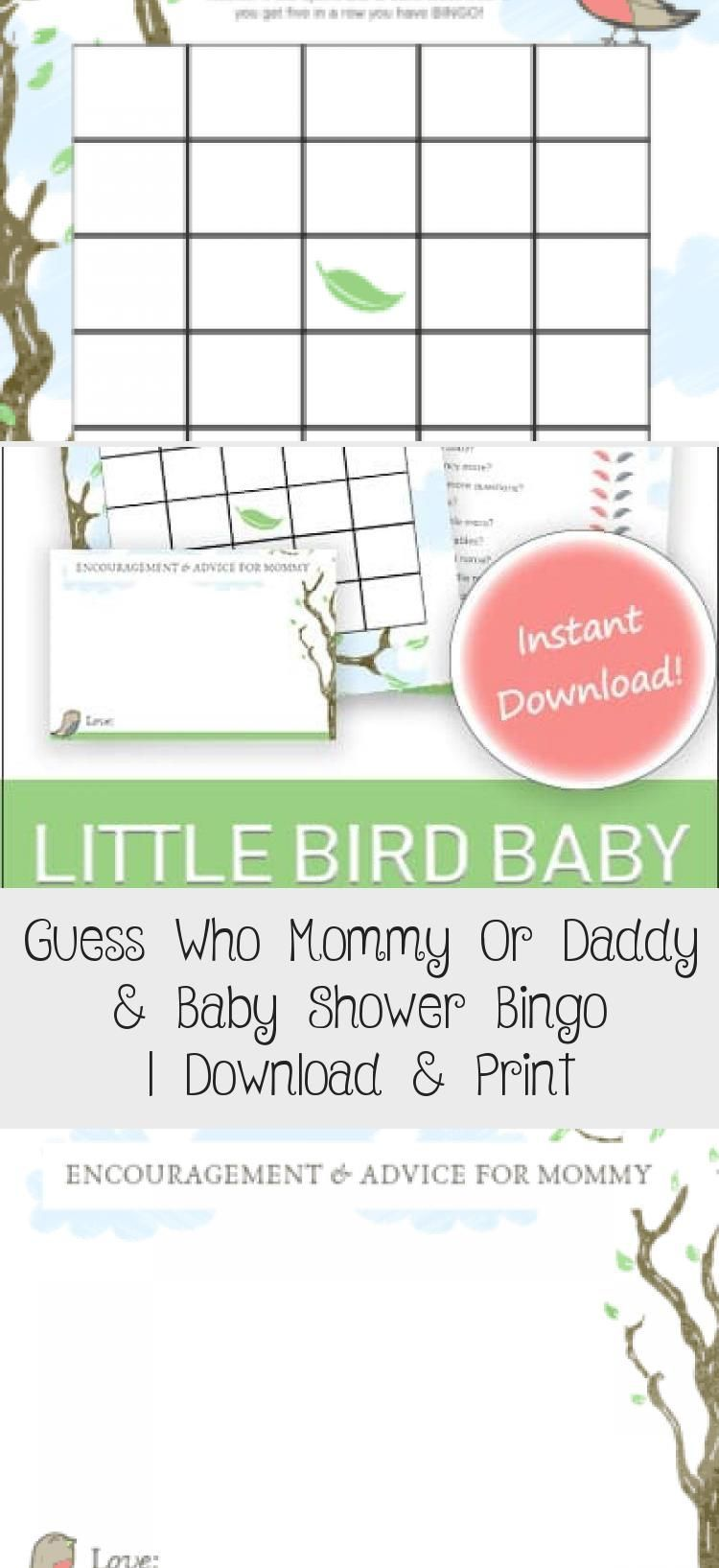 This cute bird theme baby shower game is great for large groups Enjoy funny memories as guests select whether they think the parents answered mommy or daddy for each ques...