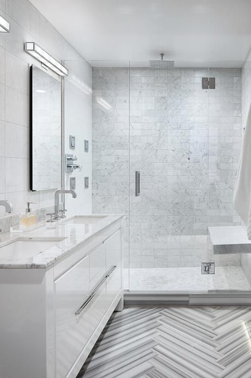 Modern Bathroom Features A White Lacquer Vanity Topped With Grey