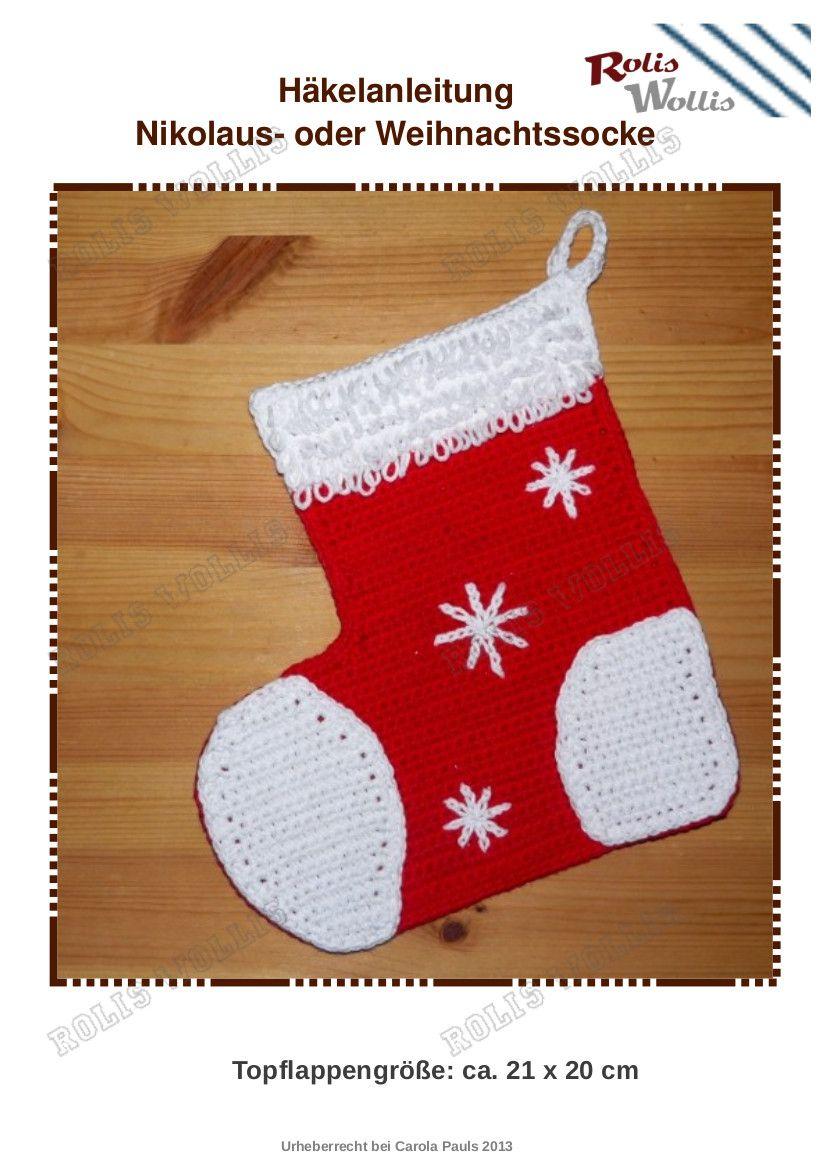 Nikolaus oder Weihnachtssocke | Weihnachten Amigurumi gehäkelt ...