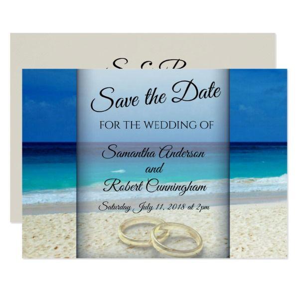 Beach Wedding Save The Date Flat Card Customizable Invitations