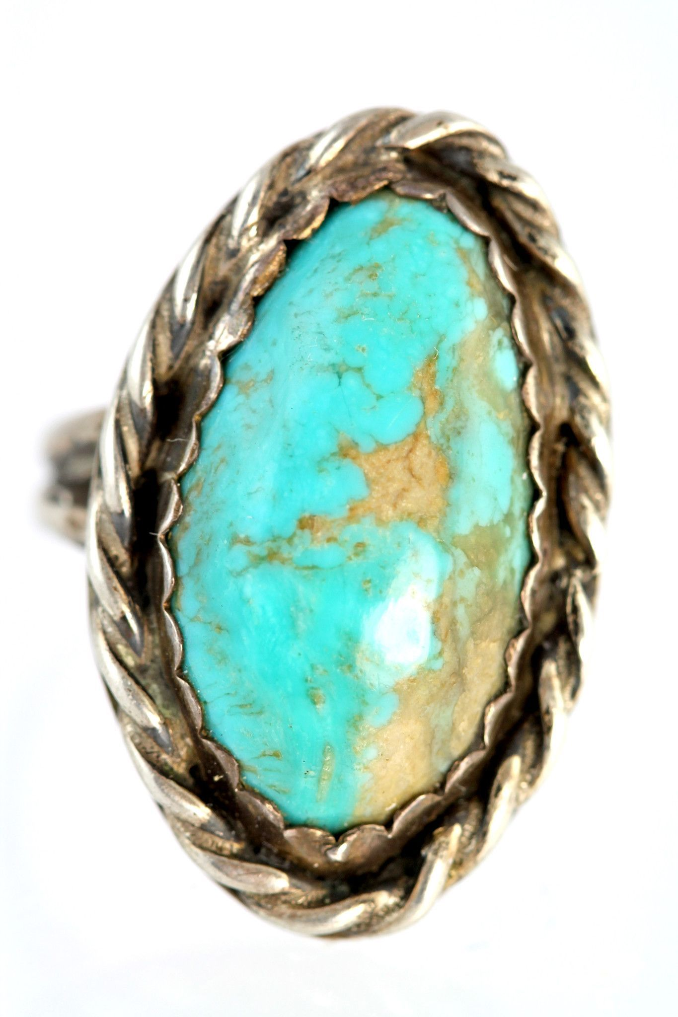 Vintage Navajo sterling silver and turquoise ring. The turquoise is ...