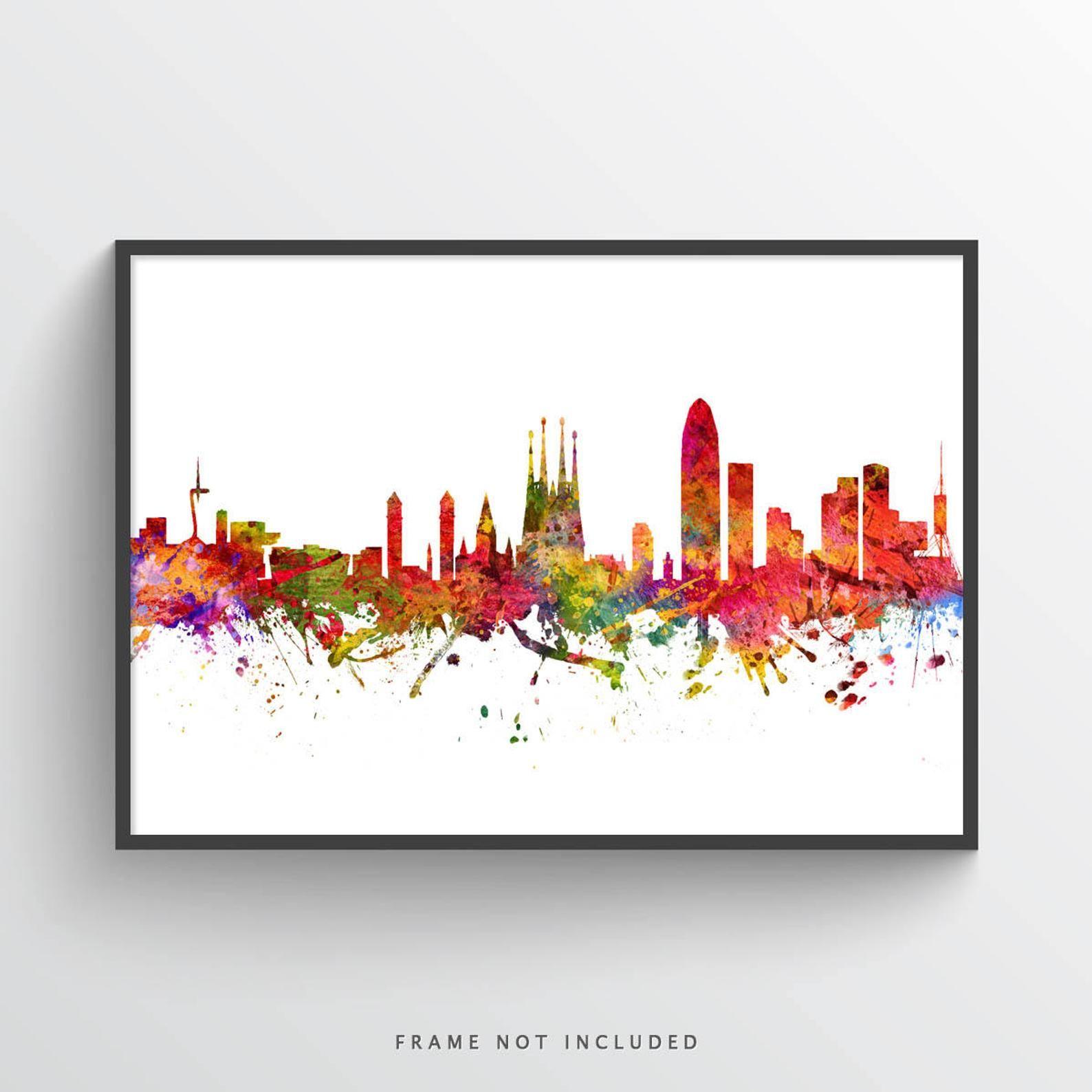 Barcelona Poster Barcelona Skyline Barcelona Cityscape Etsy