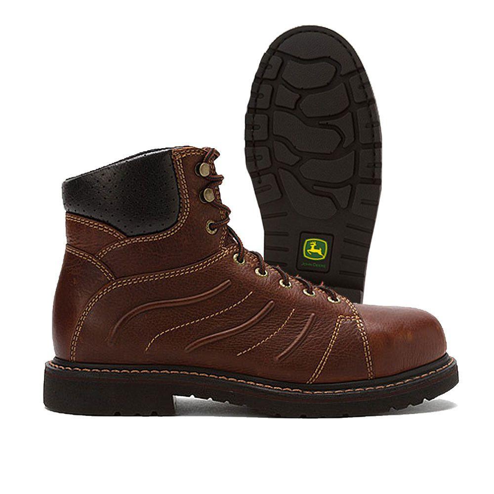 John Deere Brown Pebbled Bull Leather Steel Toe Work Boot Slip ...