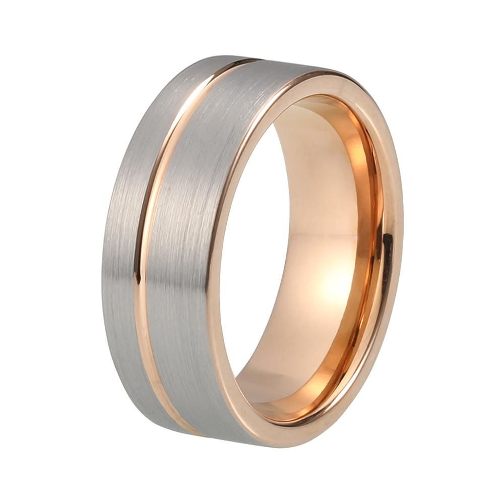 Brushed Tungsten Wedding Band With Rose Gold Offset Stripe Finish Rose Gold Mens Wedding Band Mens Gold Wedding Band Rose Gold Wedding Bands