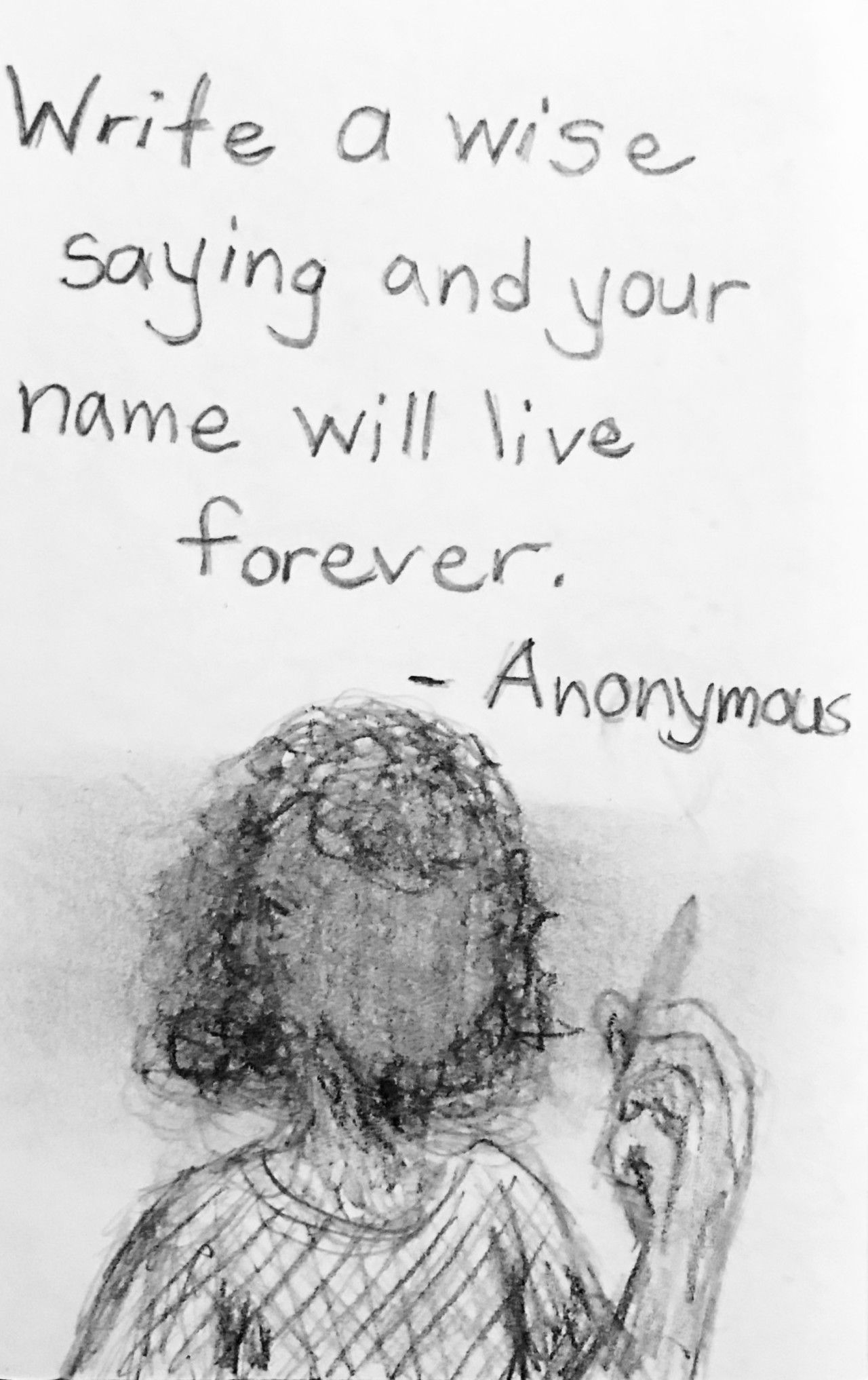 Random quote meets random sketch with the theme anonymous didnt want to go political here but illustrationfriday tempted me a bit
