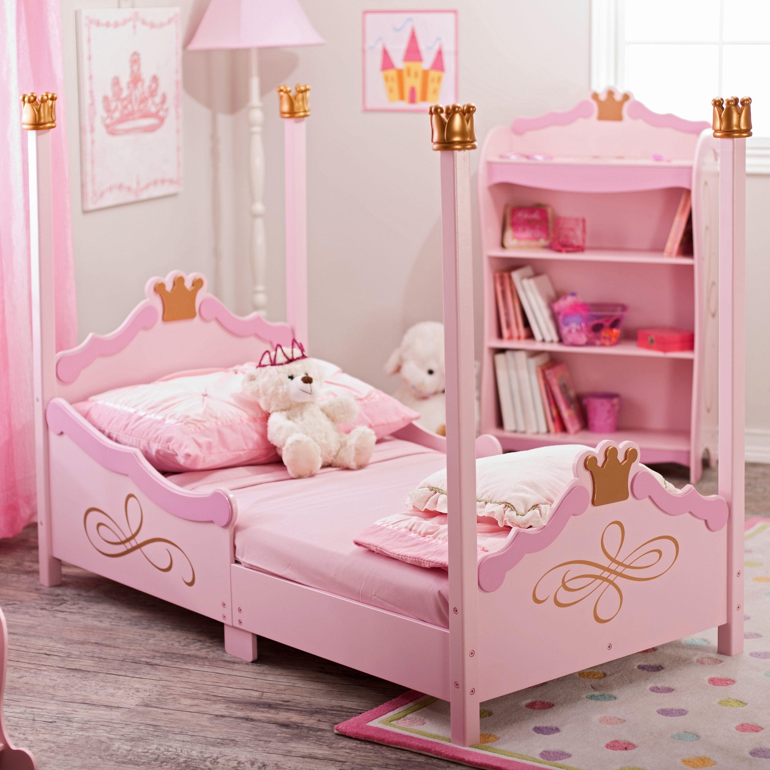 kidkraft princess toddler bed pink