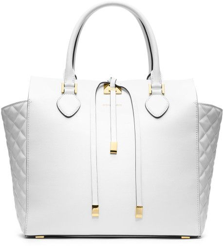 Women's White Large Miranda Quilted Tote | Cheap michael kors ... : quilted tote bags cheap - Adamdwight.com