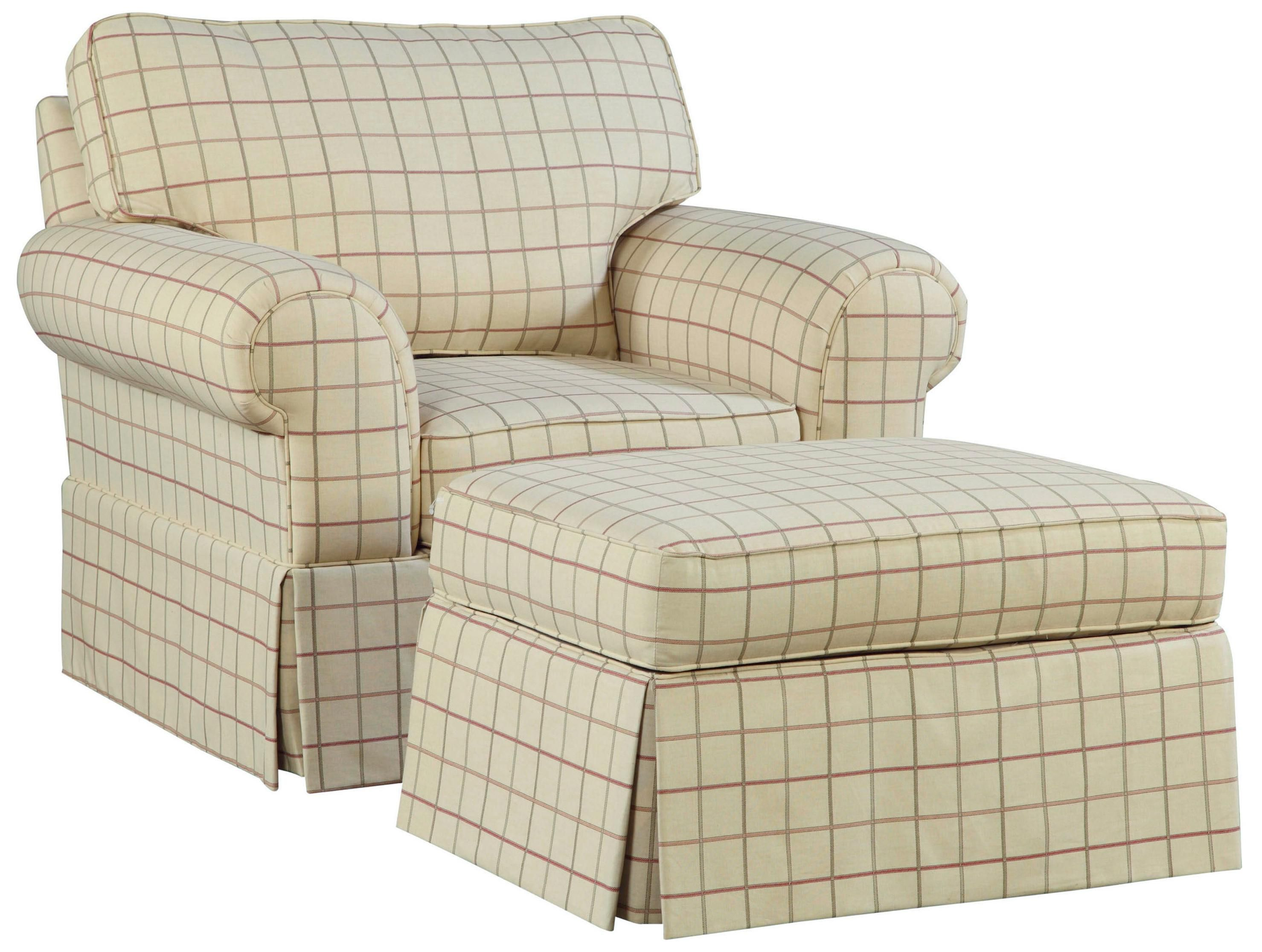 plaid accent chair and ottoman