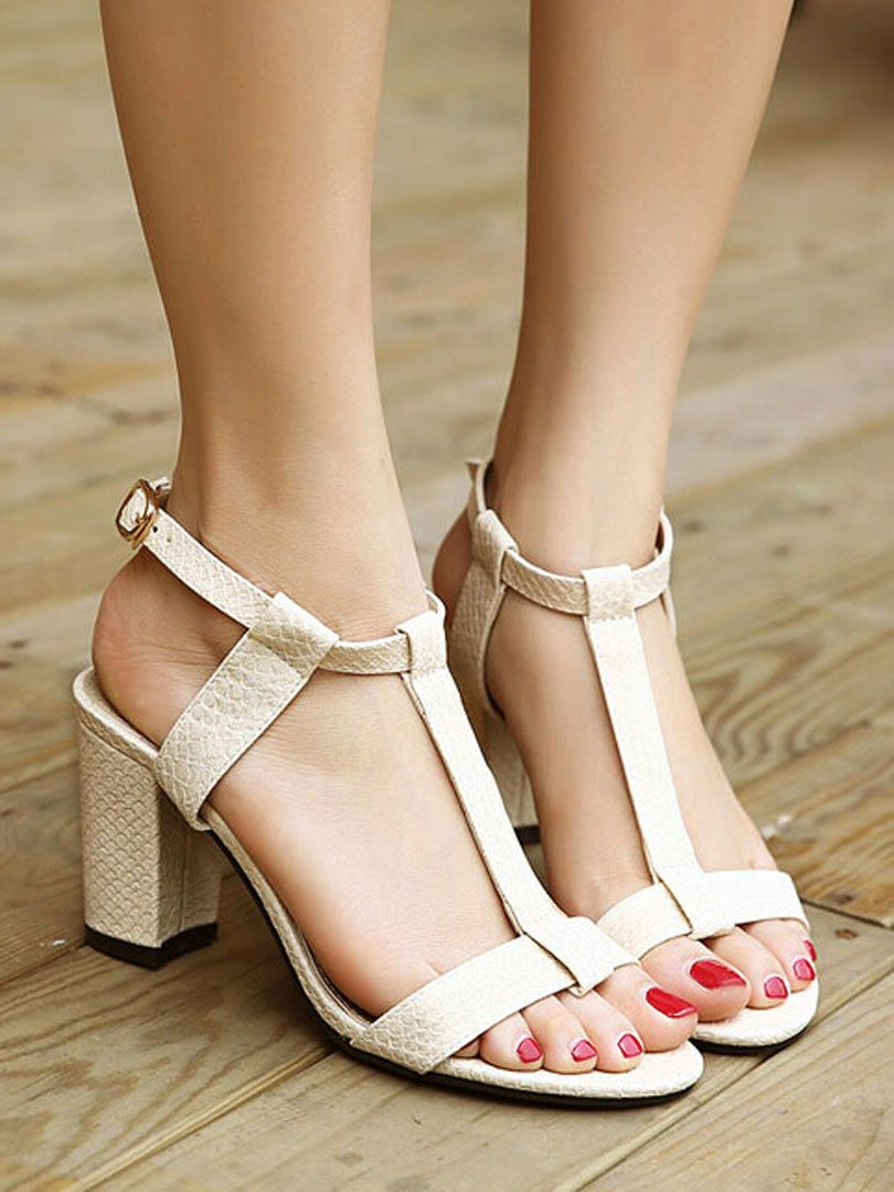White Textured T Bar Buckle Strap Heeled Sandals. Visit here for sandals: http://www.choies.com/product/white-textured-t-bar-buckle-strap-heeled-sandals_p44257?cid=8227jessica