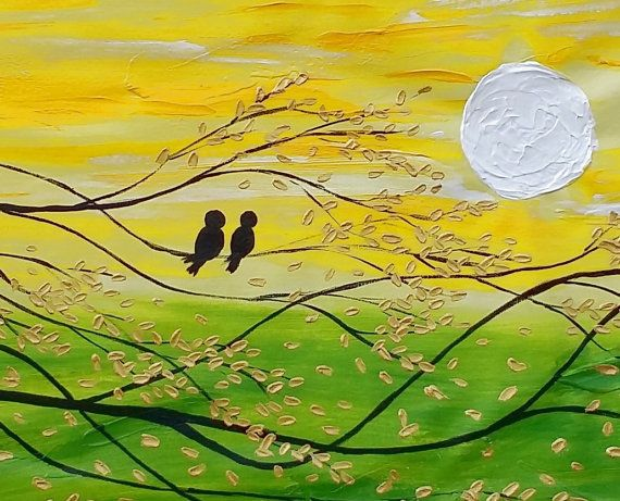 Love Birds Painting, Canvas Wall Art, Abstract Painting, Wedding Gift, Original Painting, Oil Painting, Canvas Painting, Large Oil Painting  The painting size is 20x40 inches (about 50X100cm)  Edges are painted and ready to hang.  To view more of my unique artworks please visit: http://www.etsy.com/shop/texturepainting  This oil painting was created on a stretched canvas with professional grade oil paints. Stapled on the back - The sides of the artwork are painted so there...