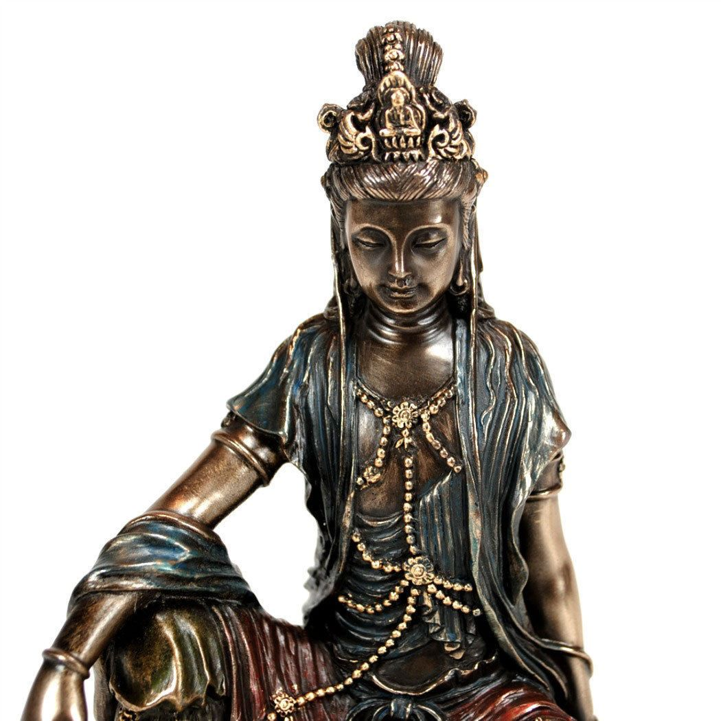 "KWAN YIN STATUE 5/"" Buddhist Goddess HIGH QUALITY Bronze Resin NEW Quan Guan Kuan"