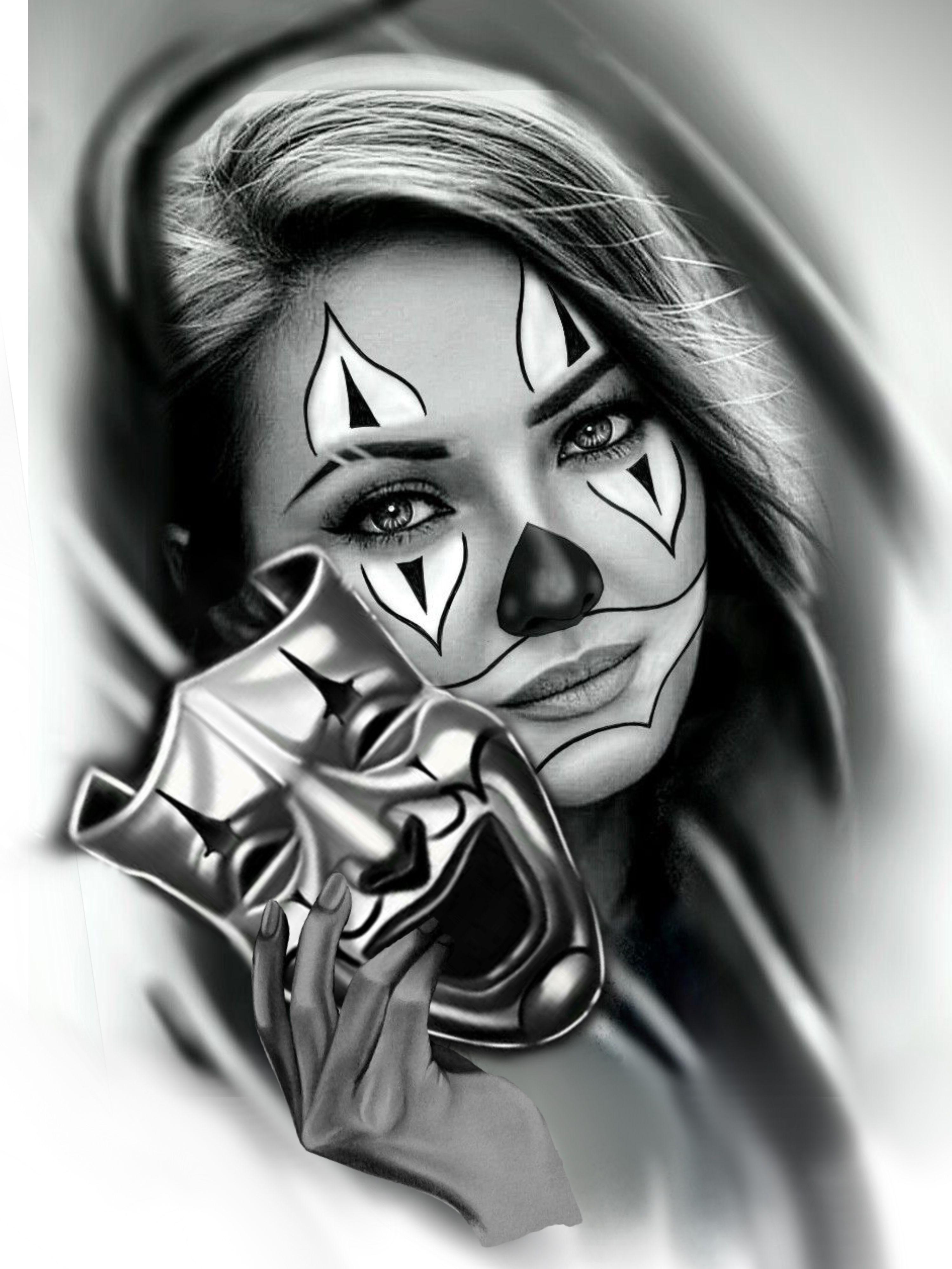 Desenho Palhaço Tatuagem clown tattoos | tatuagem, tatuagem mulher, tatuagem de palhaço