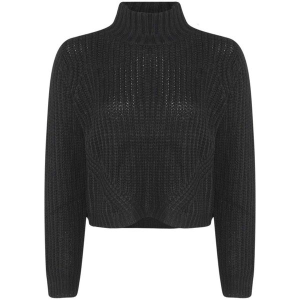 Boohoo Lexi Funnel Neck Chunky Knit Crop Jumper ($26) ❤ liked on Polyvore featuring tops, sweaters, layered tops, layered sweater, jumpers sweaters, crop top y layered crop top