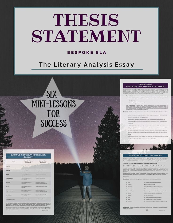 the literary analysis thesis statement six minilessons for essay  this lesson contains a stepbystep guide for how to write a thesis  statement for the literary analysis essay it is a part of our mega lit